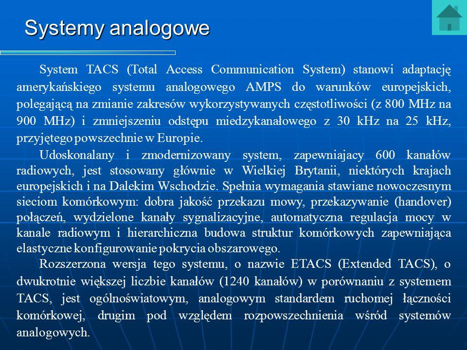 Systemy analogowe System TACS (Total Access Communication System) stanowi adaptację amerykańskiego systemu analogowego AMPS do warunków europejskich,