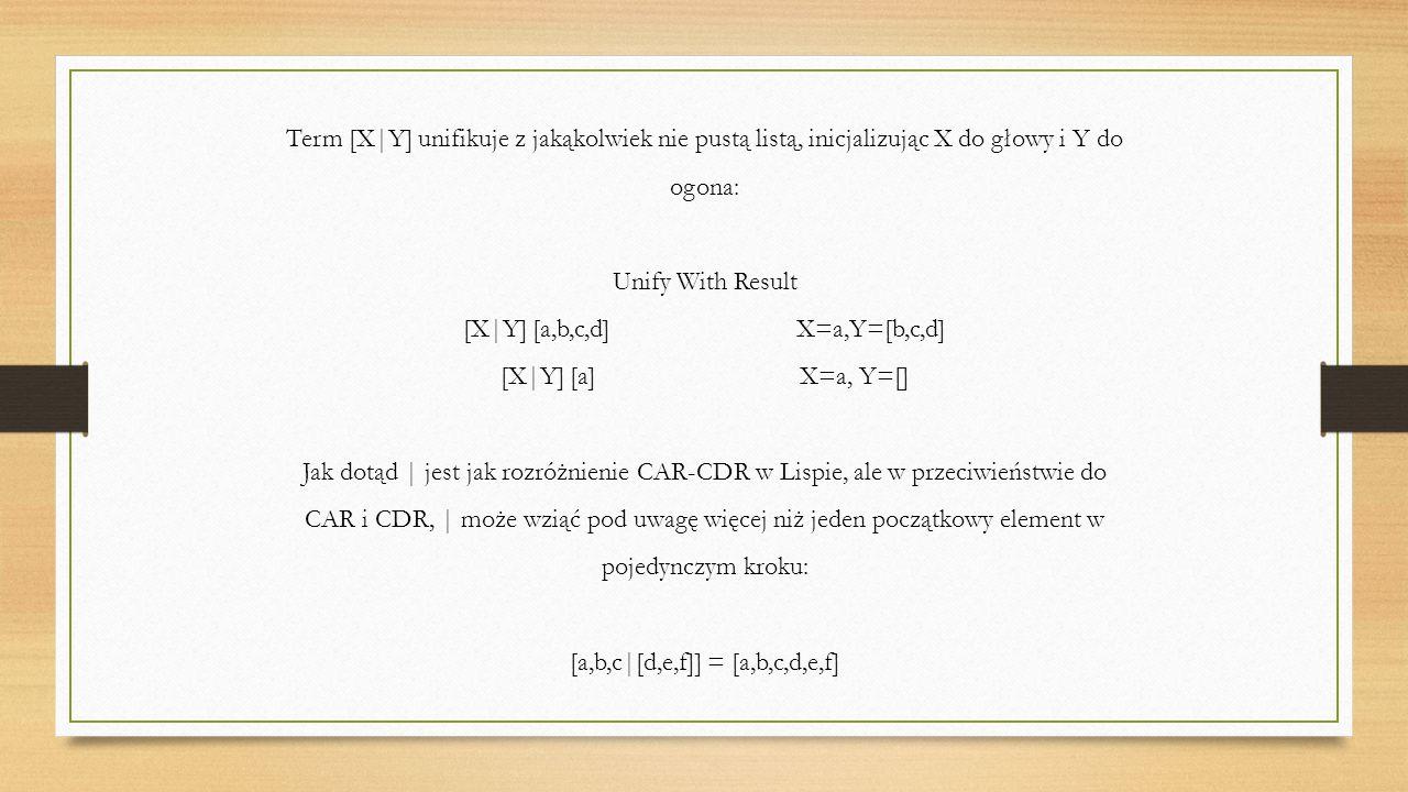 Term [X|Y] unifikuje z jakąkolwiek nie pustą listą, inicjalizując X do głowy i Y do ogona: Unify With Result [X|Y] [a,b,c,d] X=a,Y=[b,c,d] [X|Y] [a] X=a, Y=[] Jak dotąd | jest jak rozróżnienie CAR-CDR w Lispie, ale w przeciwieństwie do CAR i CDR, | może wziąć pod uwagę więcej niż jeden początkowy element w pojedynczym kroku: [a,b,c|[d,e,f]] = [a,b,c,d,e,f]