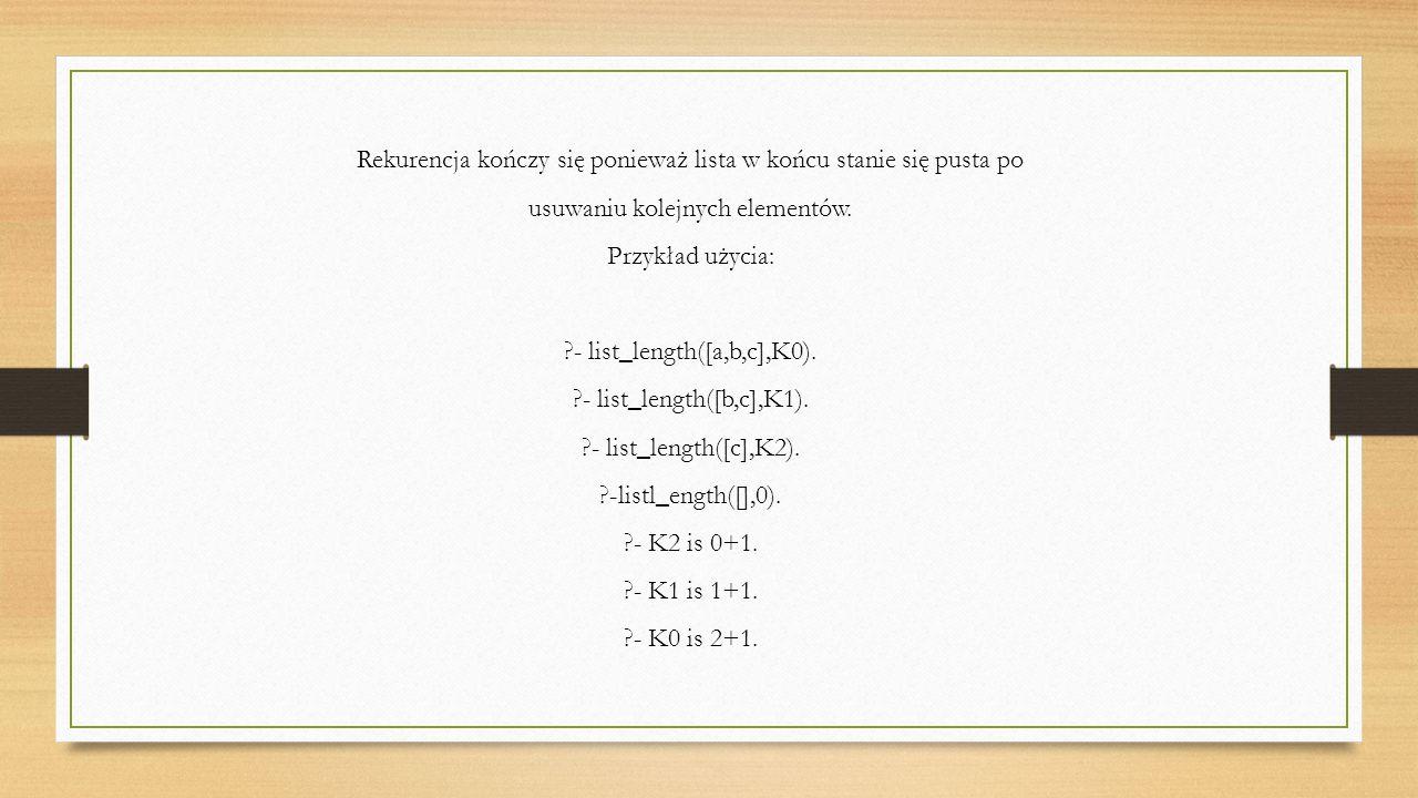 Rekurencja kończy się ponieważ lista w końcu stanie się pusta po usuwaniu kolejnych elementów.