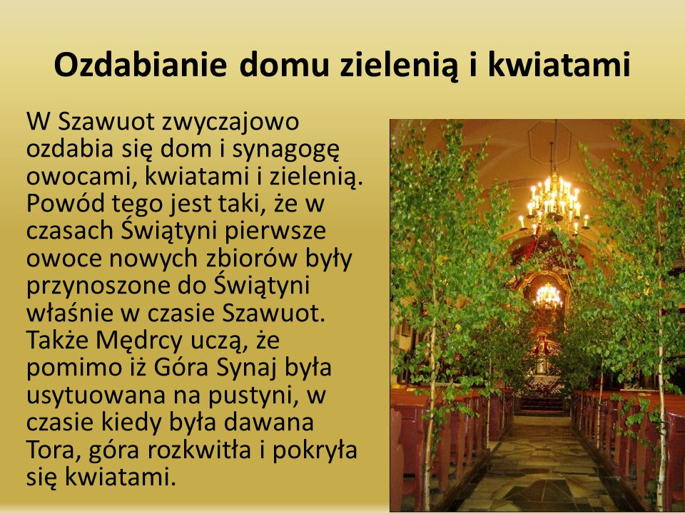 Ozdabianie domu zielenią i kwiatami W Szawuot zwyczajowo ozdabia się dom i synagogę owocami, kwiatami i zielenią. Powód tego jest taki, że w czasach Ś