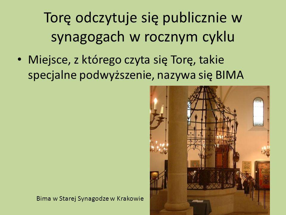 Torę odczytuje się publicznie w synagogach w rocznym cyklu Miejsce, z którego czyta się Torę, takie specjalne podwyższenie, nazywa się BIMA Bima w Sta