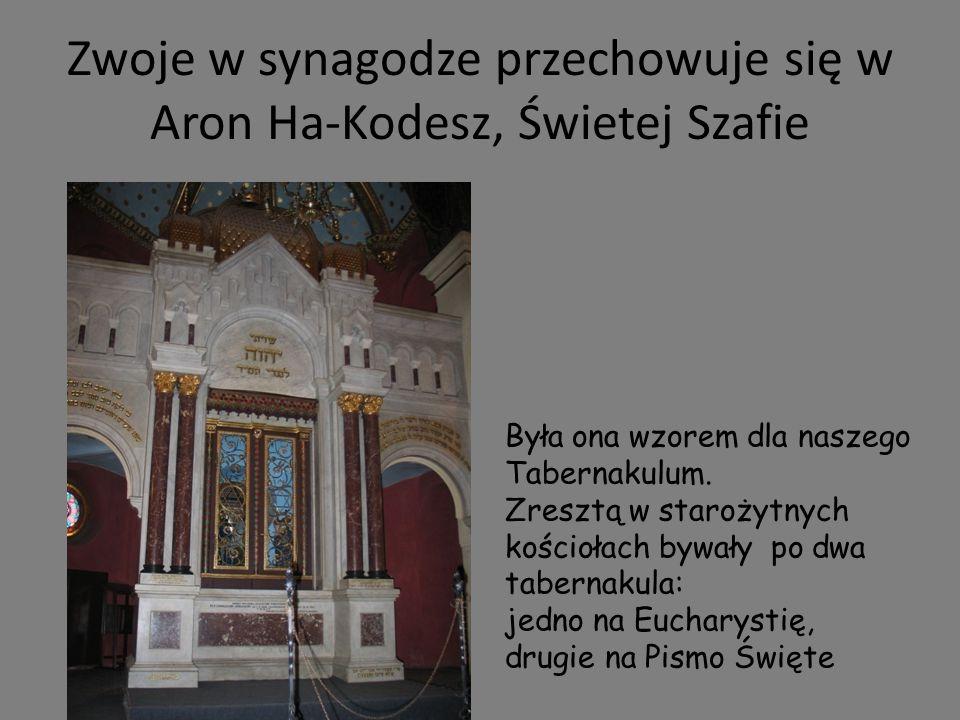 Zwoje w synagodze przechowuje się w Aron Ha-Kodesz, Świetej Szafie Była ona wzorem dla naszego Tabernakulum. Zresztą w starożytnych kościołach bywały