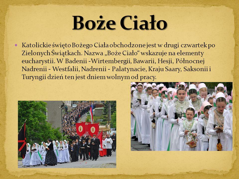 """Katolickie święto Bożego Ciała obchodzone jest w drugi czwartek po Zielonych Świątkach. Nazwa """"Boże Ciało"""" wskazuje na elementy eucharystii. W Badenii"""