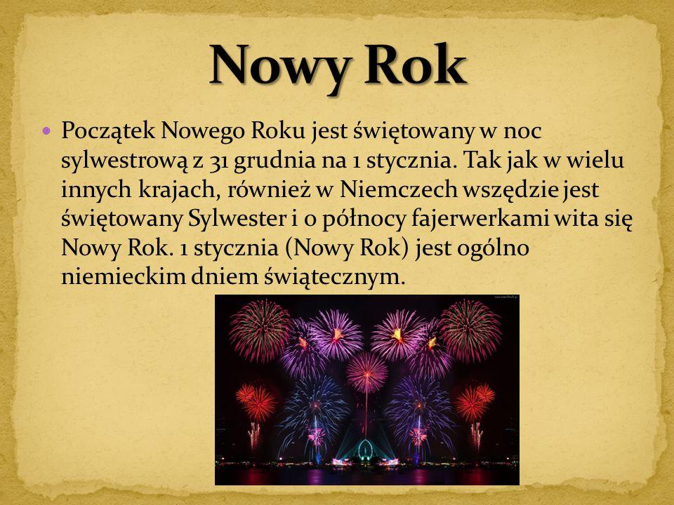 Początek Nowego Roku jest świętowany w noc sylwestrową z 31 grudnia na 1 stycznia. Tak jak w wielu innych krajach, również w Niemczech wszędzie jest ś