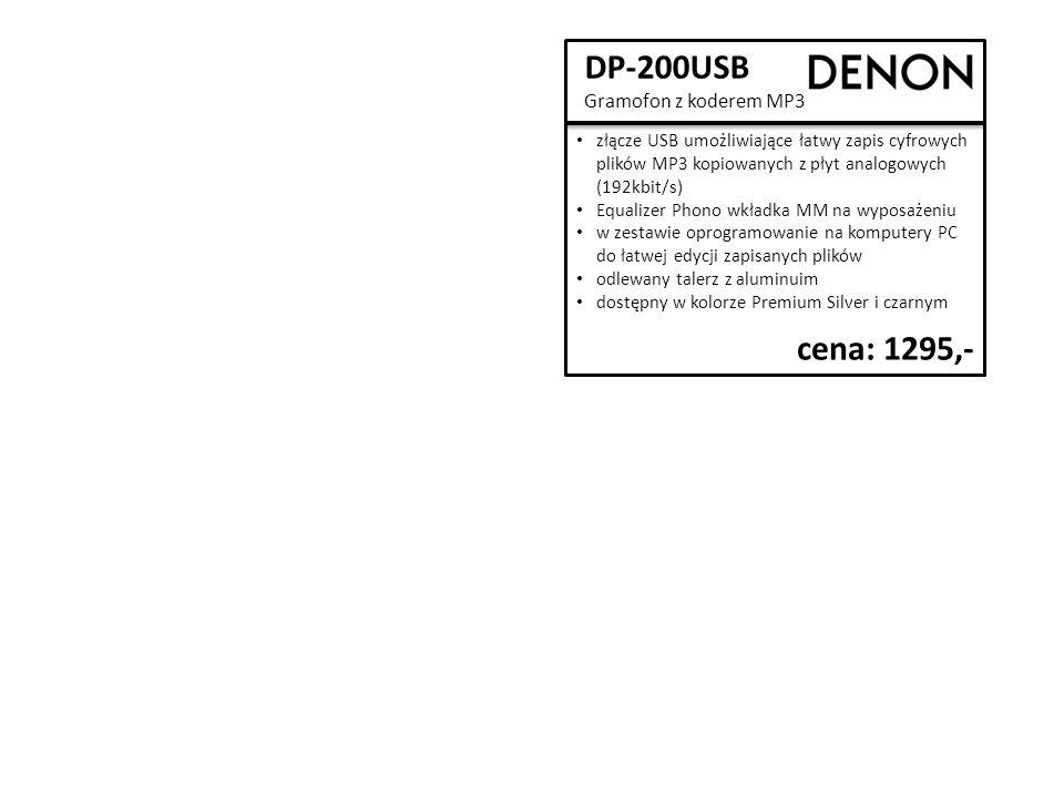 DP-300F Gramofon talerz gramofonu z aluminiowego odlewu ciśnieniowego Equalizer Phono (odłączany przedwzmacniacz gramofonowy) umożliwiający podłączenie gramofonu do wejścia AUX wkładka MM zwarta konstrukcja dostępny w kolorze srebrnym i czarnym cena: 1795,-