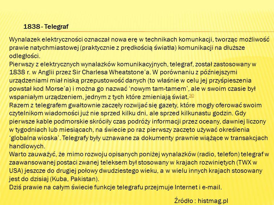1838 - Telegraf Wynalazek elektryczności oznaczał nowa erę w technikach komunkacji, tworząc możliwość prawie natychmiastowej (praktycznie z prędkością