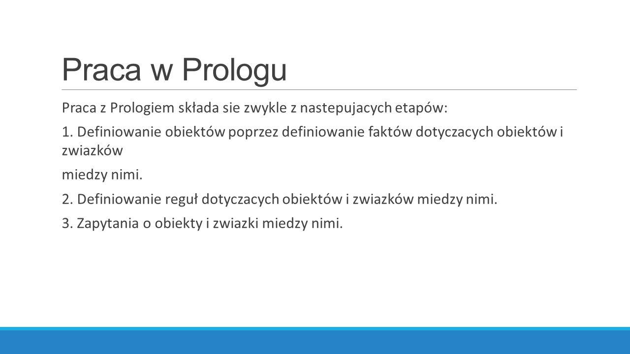 Praca w Prologu Praca z Prologiem składa sie zwykle z nastepujacych etapów: 1.