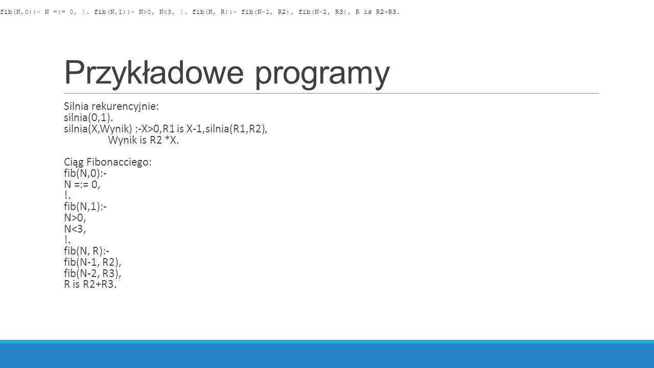 Przykładowe programy Silnia rekurencyjnie: silnia(0,1).