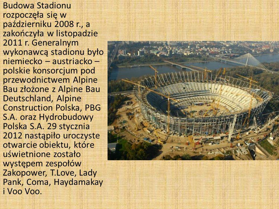 Budowa Stadionu rozpoczęła się w październiku 2008 r., a zakończyła w listopadzie 2011 r.