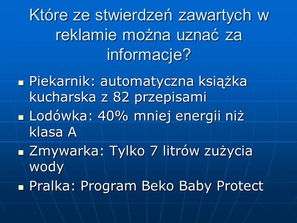 Które ze stwierdzeń zawartych w reklamie można uznać za informacje.