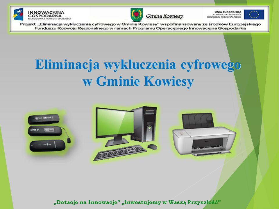 """Eliminacja wykluczenia cyfrowego w Gminie Kowiesy """"Dotacje na Innowacje """"Inwestujemy w Waszą Przyszłość"""