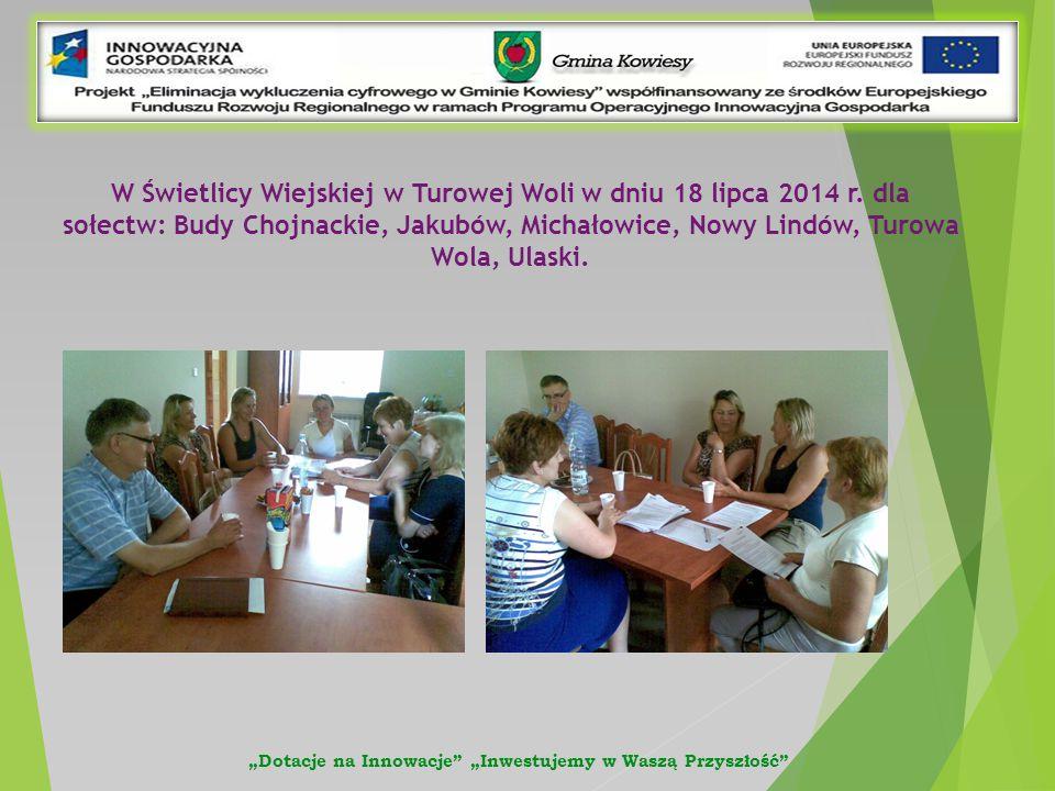 W Świetlicy Wiejskiej w Turowej Woli w dniu 18 lipca 2014 r.