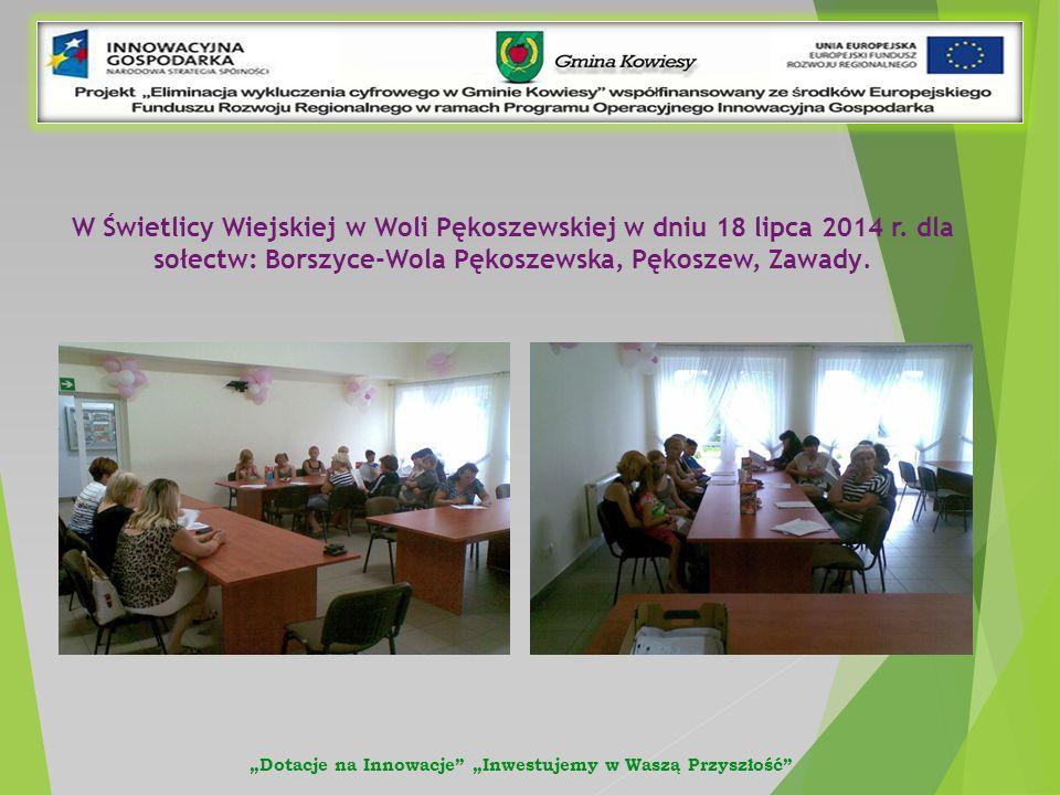 W Świetlicy Wiejskiej w Woli Pękoszewskiej w dniu 18 lipca 2014 r.