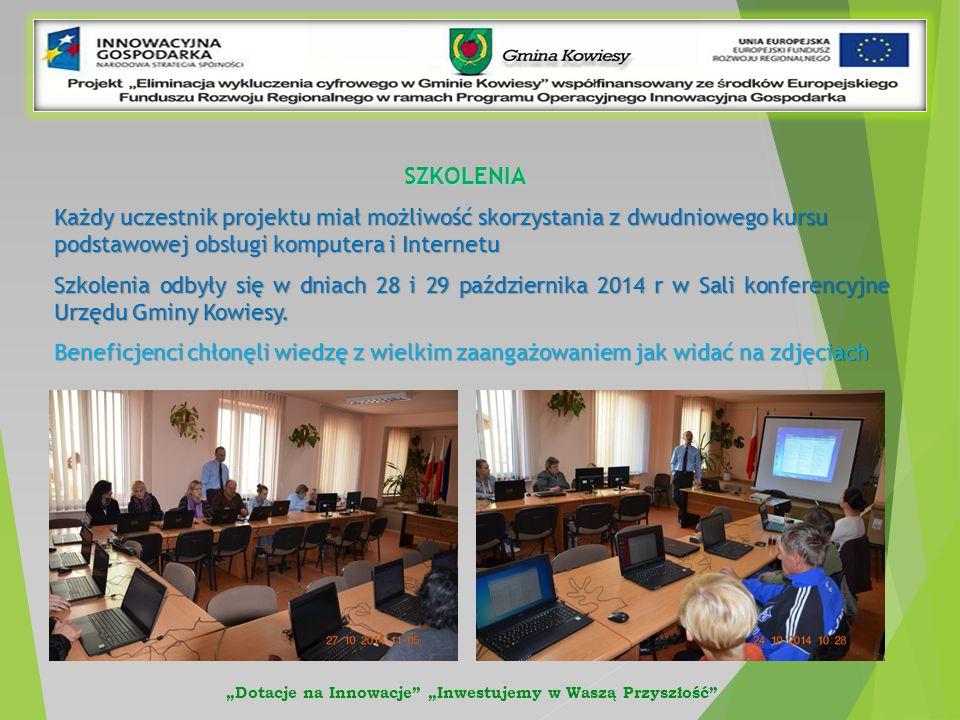 SZKOLENIA Każdy uczestnik projektu miał możliwość skorzystania z dwudniowego kursu podstawowej obsługi komputera i Internetu Szkolenia odbyły się w dniach 28 i 29 października 2014 r w Sali konferencyjne Urzędu Gminy Kowiesy.