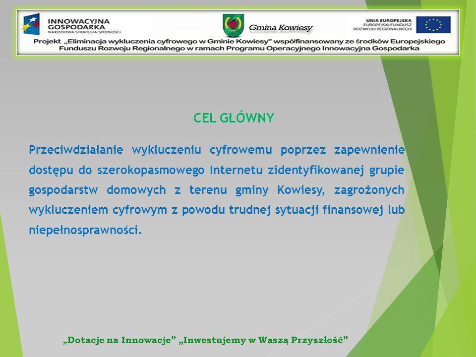 CEL GŁÓWNY Przeciwdziałanie wykluczeniu cyfrowemu poprzez zapewnienie dostępu do szerokopasmowego Internetu zidentyfikowanej grupie gospodarstw domowych z terenu gminy Kowiesy, zagrożonych wykluczeniem cyfrowym z powodu trudnej sytuacji finansowej lub niepełnosprawności.