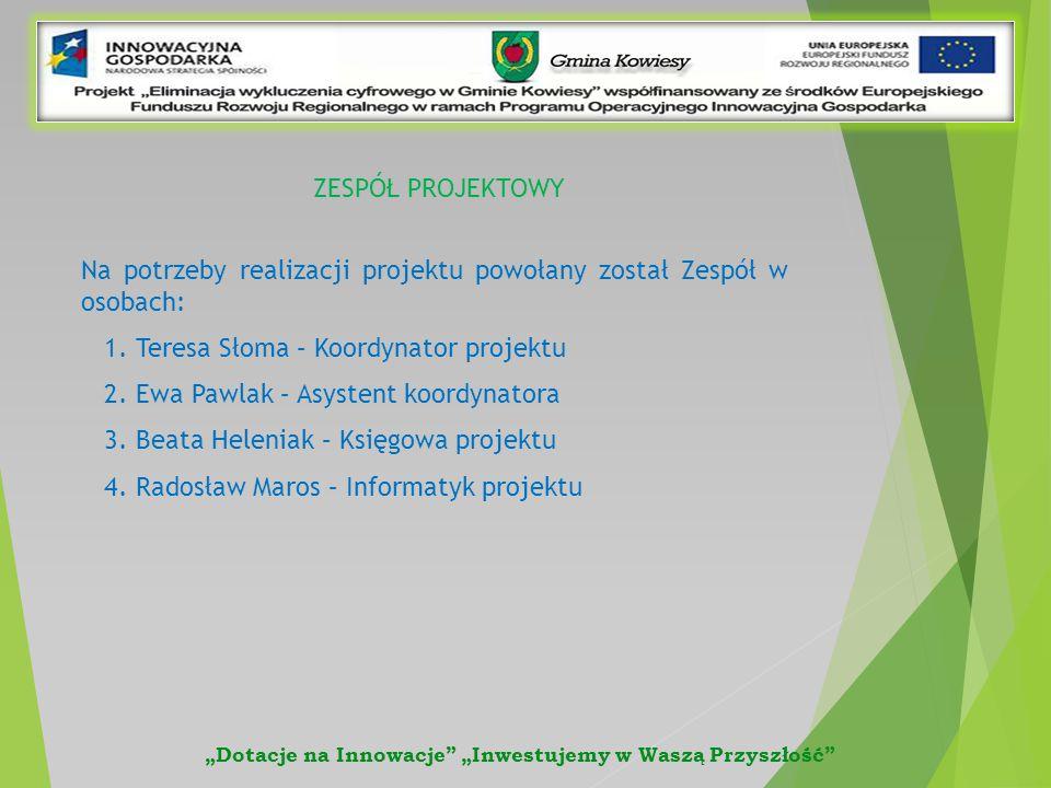 Na potrzeby realizacji projektu powołany został Zespół w osobach: 1.