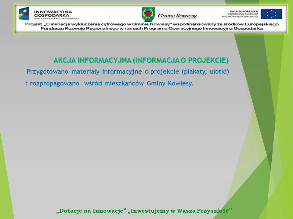 AKCJA INFORMACYJNA (INFORMACJA O PROJEKCIE) Przygotowano materiały informacyjne o projekcie (plakaty, ulotki) i rozpropagowano wśród mieszkańców Gminy Kowiesy.