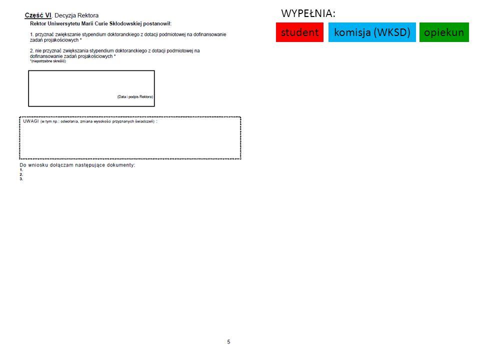 studentkomisja (WKSD)opiekun WYPEŁNIA: