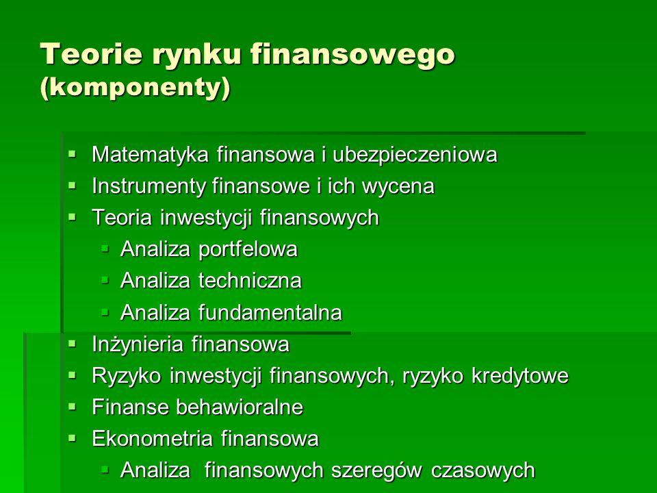 Teorie rynku finansowego (komponenty)  Matematyka finansowa i ubezpieczeniowa  Instrumenty finansowe i ich wycena  Teoria inwestycji finansowych 