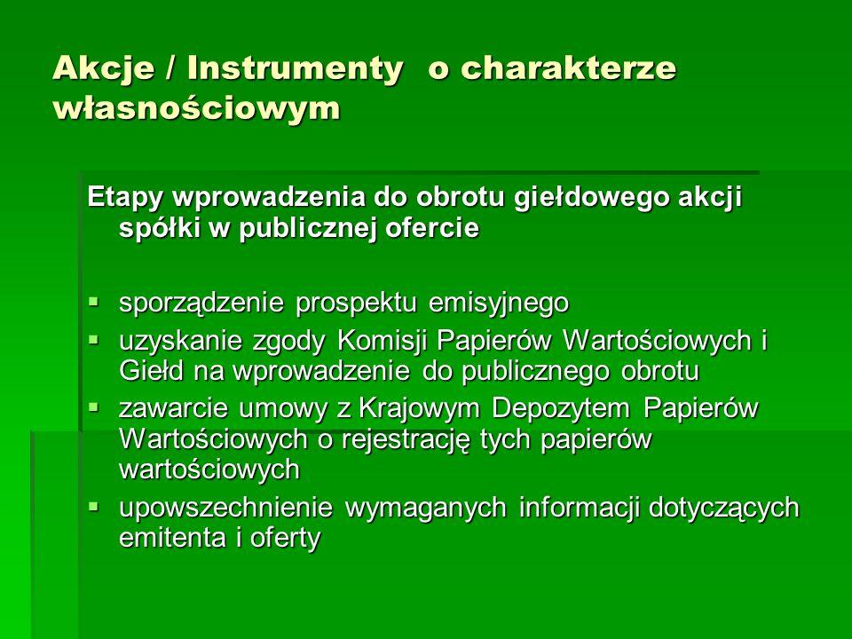 Akcje / Instrumenty o charakterze własnościowym Etapy wprowadzenia do obrotu giełdowego akcji spółki w publicznej ofercie  sporządzenie prospektu emi