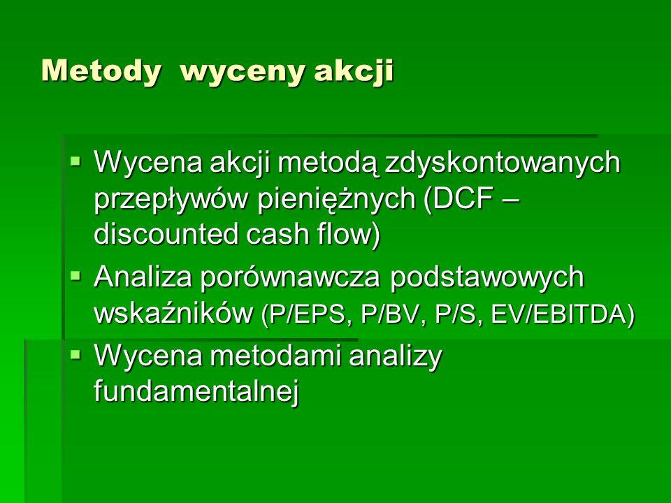 Metody wyceny akcji  Wycena akcji metodą zdyskontowanych przepływów pieniężnych (DCF – discounted cash flow)  Analiza porównawcza podstawowych wskaź