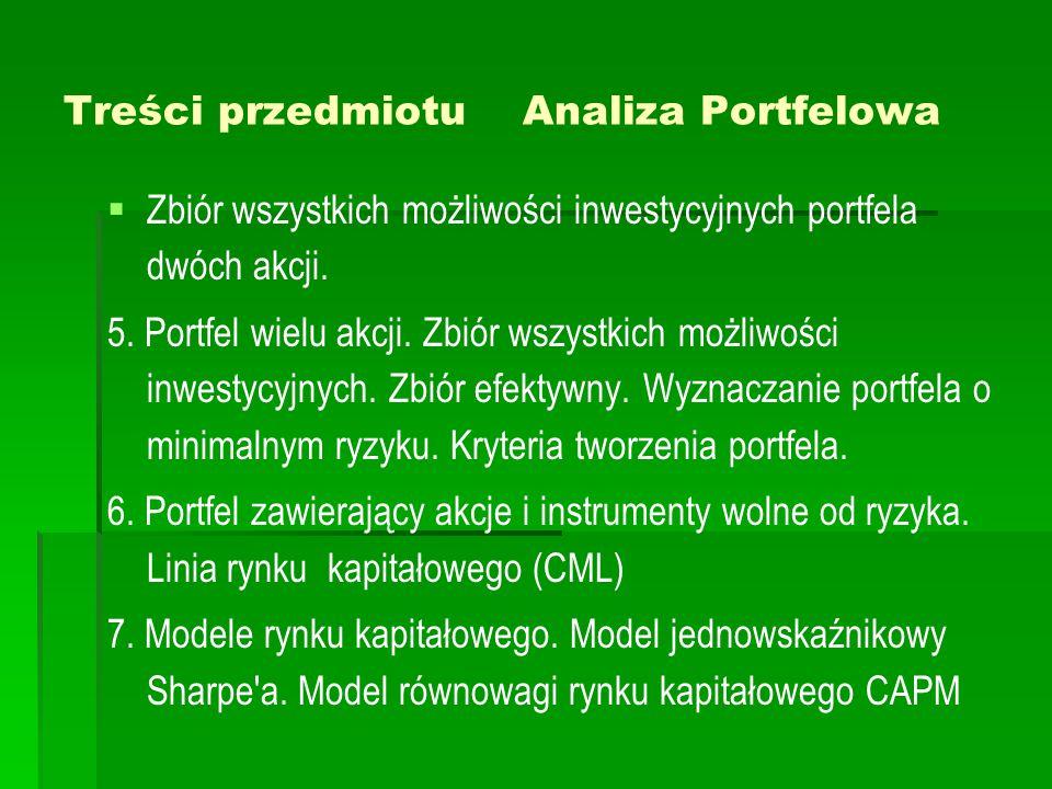 Treści przedmiotu Analiza Portfelowa   Zbiór wszystkich możliwości inwestycyjnych portfela dwóch akcji. 5. Portfel wielu akcji. Zbiór wszystkich moż