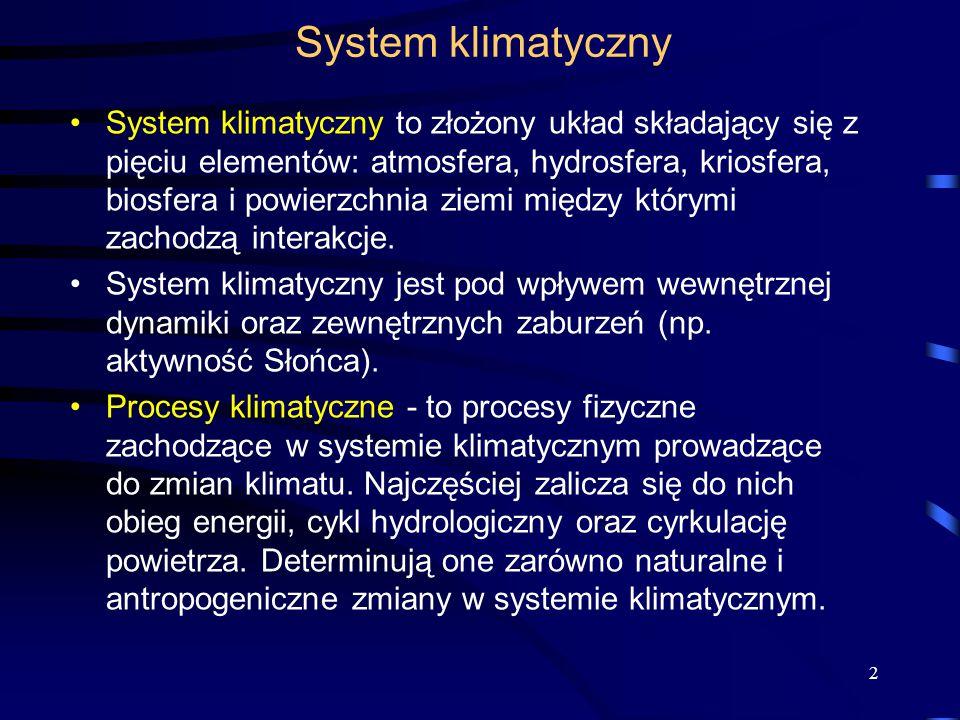 System klimatyczny System klimatyczny to złożony układ składający się z pięciu elementów: atmosfera, hydrosfera, kriosfera, biosfera i powierzchnia zi