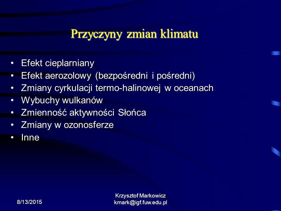 8/13/2015 Krzysztof Markowicz kmark@igf.fuw.edu.pl Przyczyny zmian klimatu Efekt cieplarnianyEfekt cieplarniany Efekt aerozolowy (bezpośredni i pośred