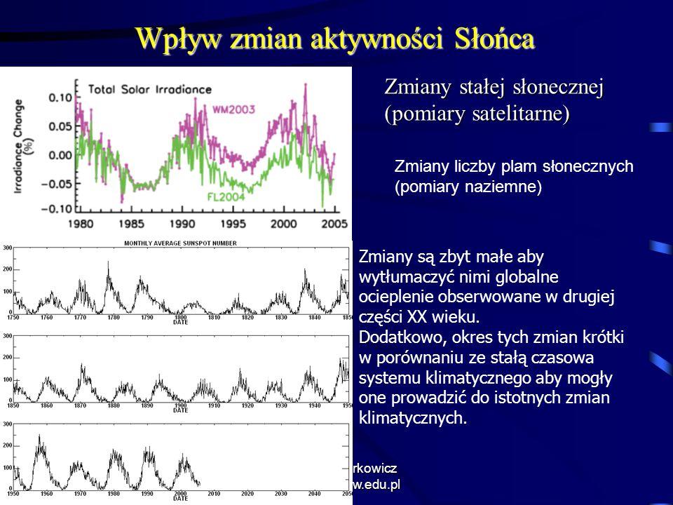 8/13/2015 Krzysztof Markowicz kmark@igf.fuw.edu.pl Wpływ zmian aktywności Słońca Zmiany stałej słonecznej (pomiary satelitarne) Zmiany liczby plam sło
