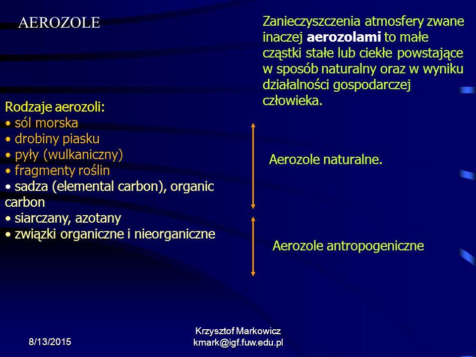 8/13/2015 Krzysztof Markowicz kmark@igf.fuw.edu.pl Zanieczyszczenia atmosfery zwane inaczej aerozolami to małe cząstki stałe lub ciekłe powstające w s