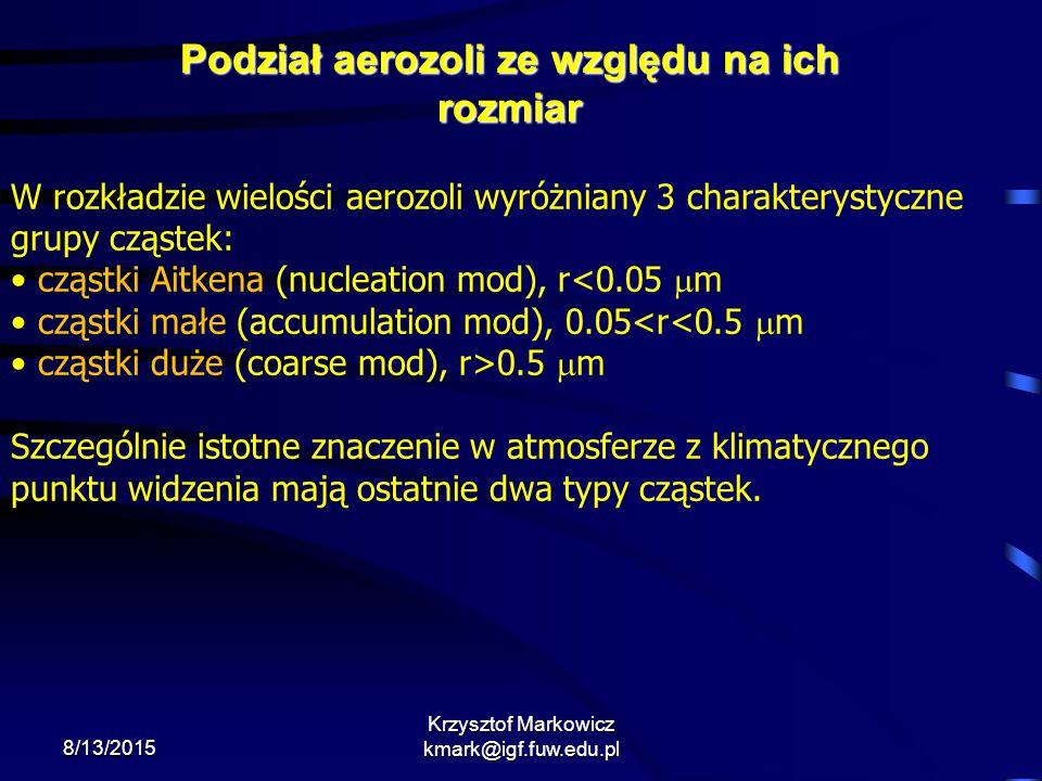 8/13/2015 Krzysztof Markowicz kmark@igf.fuw.edu.pl Podział aerozoli ze względu na ich rozmiar W rozkładzie wielości aerozoli wyróżniany 3 charakteryst