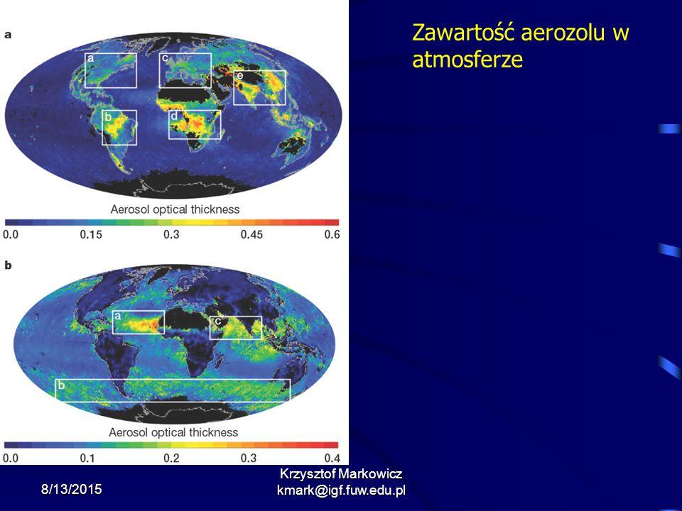 8/13/2015 Krzysztof Markowicz kmark@igf.fuw.edu.pl Zawartość aerozolu w atmosferze