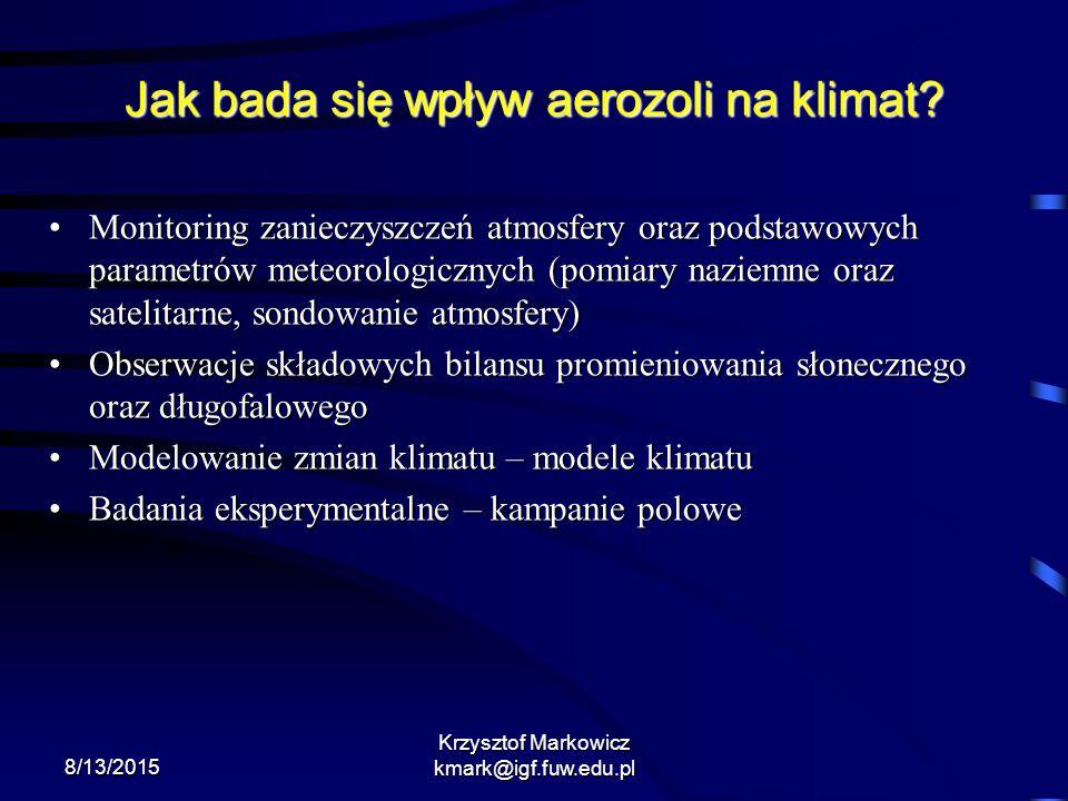 8/13/2015 Krzysztof Markowicz kmark@igf.fuw.edu.pl Jak bada się wpływ aerozoli na klimat? Monitoring zanieczyszczeń atmosfery oraz podstawowych parame