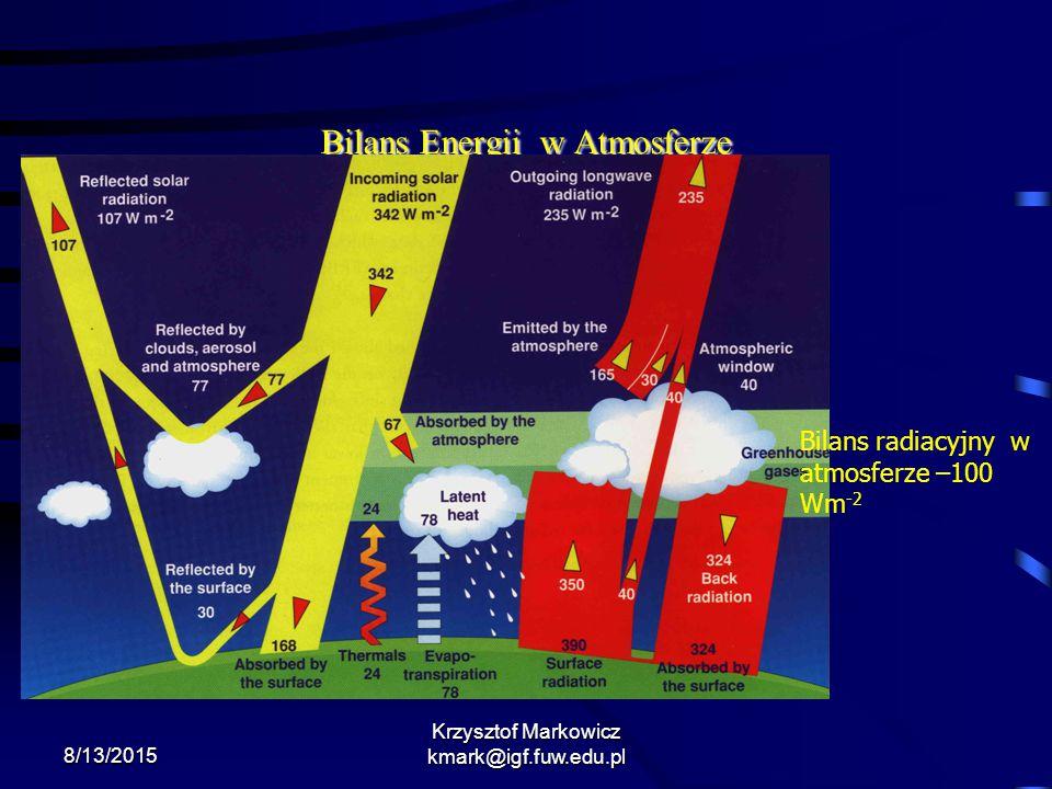 8/13/2015 Krzysztof Markowicz kmark@igf.fuw.edu.pl Bilans Energii w Atmosferze Bilans radiacyjny w atmosferze –100 Wm -2