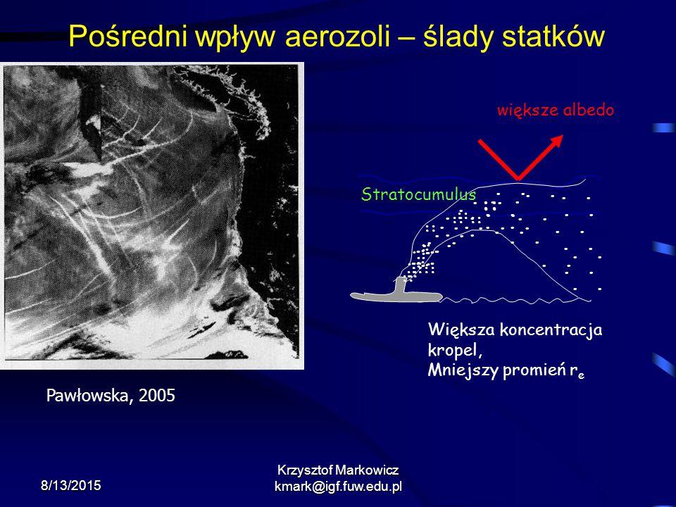8/13/2015 Krzysztof Markowicz kmark@igf.fuw.edu.pl.. ::............................... :: :::: :: Stratocumulus większe albedo Większa koncentracja kr