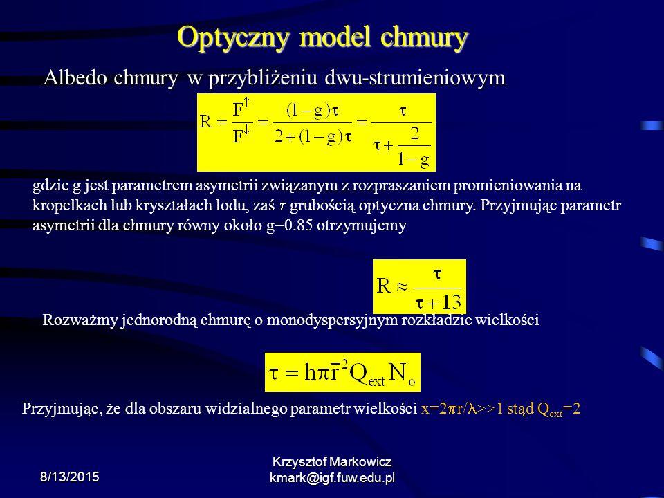 8/13/2015 Krzysztof Markowicz kmark@igf.fuw.edu.pl Optyczny model chmury Albedo chmury w przybliżeniu dwu-strumieniowym gdzie g jest parametrem asymet