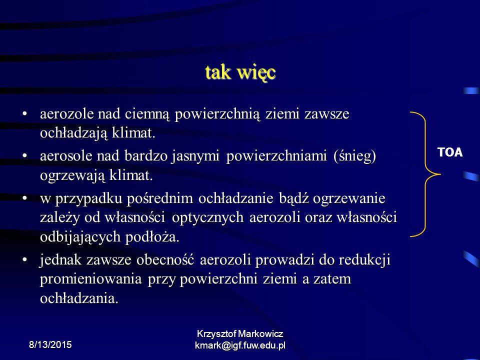 8/13/2015 Krzysztof Markowicz kmark@igf.fuw.edu.pl tak więc aerozole nad ciemną powierzchnią ziemi zawsze ochładzają klimat.aerozole nad ciemną powier