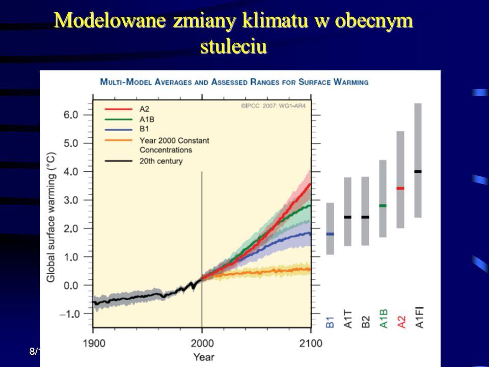 8/13/2015 Krzysztof Markowicz kmark@igf.fuw.edu.pl Modelowane zmiany klimatu w obecnym stuleciu