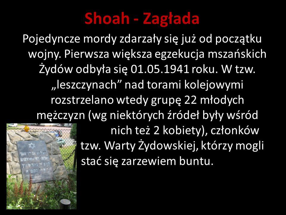 """Shoah - Zagłada Pojedyncze mordy zdarzały się już od początku wojny. Pierwsza większa egzekucja mszańskich Żydów odbyła się 01.05.1941 roku. W tzw. """"l"""