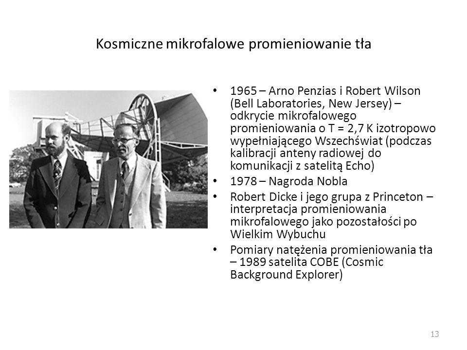 Kosmiczne mikrofalowe promieniowanie tła 1965 – Arno Penzias i Robert Wilson (Bell Laboratories, New Jersey) – odkrycie mikrofalowego promieniowania o T = 2,7 K izotropowo wypełniającego Wszechświat (podczas kalibracji anteny radiowej do komunikacji z satelitą Echo) 1978 – Nagroda Nobla Robert Dicke i jego grupa z Princeton – interpretacja promieniowania mikrofalowego jako pozostałości po Wielkim Wybuchu Pomiary natężenia promieniowania tła – 1989 satelita COBE (Cosmic Background Explorer) 13