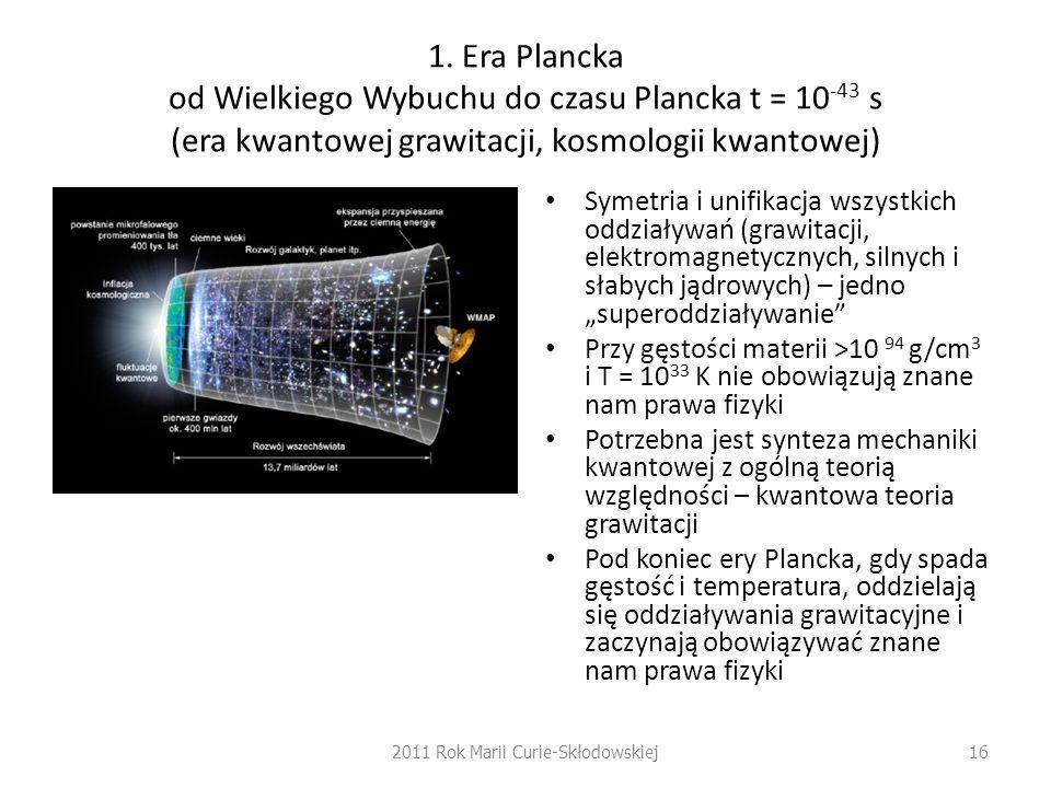 1. Era Plancka od Wielkiego Wybuchu do czasu Plancka t = 10 -43 s (era kwantowej grawitacji, kosmologii kwantowej) Symetria i unifikacja wszystkich od