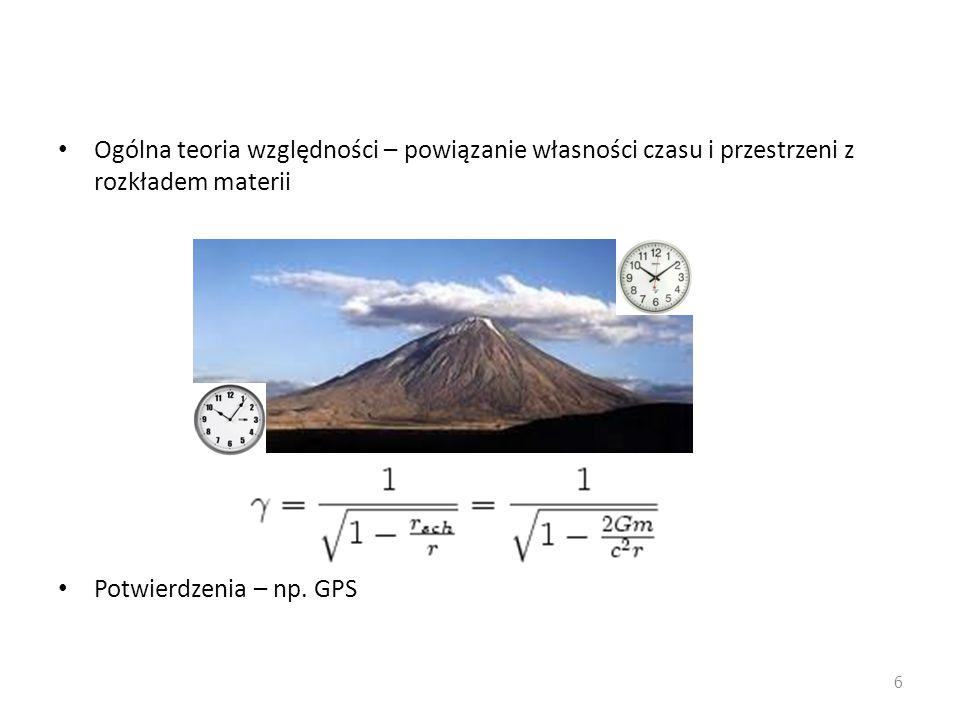 Ogólna teoria względności – powiązanie własności czasu i przestrzeni z rozkładem materii Potwierdzenia – np.
