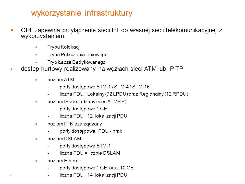 7  OPL zapewnia przyłączenie sieci PT do własnej sieci telekomunikacyjnej z wykorzystaniem:  Trybu Kolokacji;  Trybu Połączenia Liniowego;  Tryb Łącza Dedykowanego  dostęp hurtowy realizowany na węzłach sieci ATM lub IP TP  poziom ATM -porty dostępowe STM-1 / STM-4 / STM-16 -liczba PDU : Lokalny (72 LPDU) oraz Regionalny (12 RPDU)  poziom IP Zarządzany (sieć ATM+IP) -porty dostępowe 1 GE -liczba PDU : 12 lokalizacji PDU  poziom IP Niezarządzany -porty dostępowe i PDU - brak  poziom DSLAM -porty dostępowe STM-1 -liczba PDU = liczbie DSLAM  poziom Ethernet -porty dostępowe 1 GE oraz 10 GE -liczba PDU : 14 lokalizacji PDU wykorzystanie infrastruktury