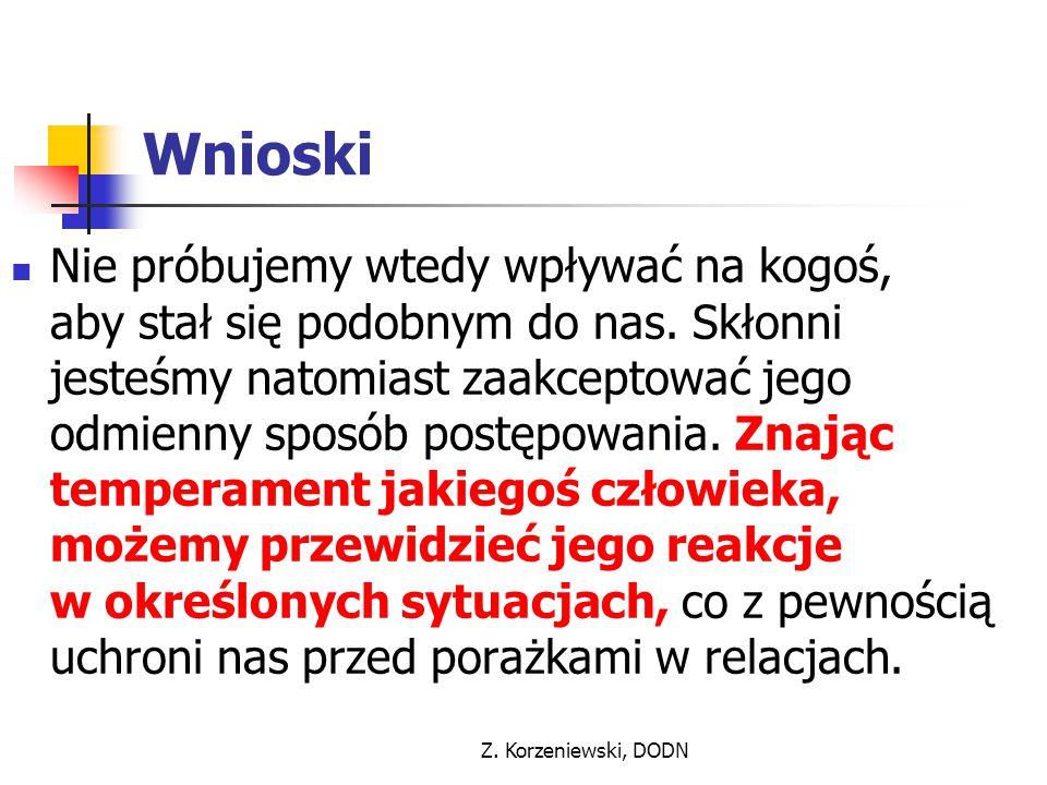 Z. Korzeniewski, DODN Wnioski Nie próbujemy wtedy wpływać na kogoś, aby stał się podobnym do nas. Skłonni jesteśmy natomiast zaakceptować jego odmienn