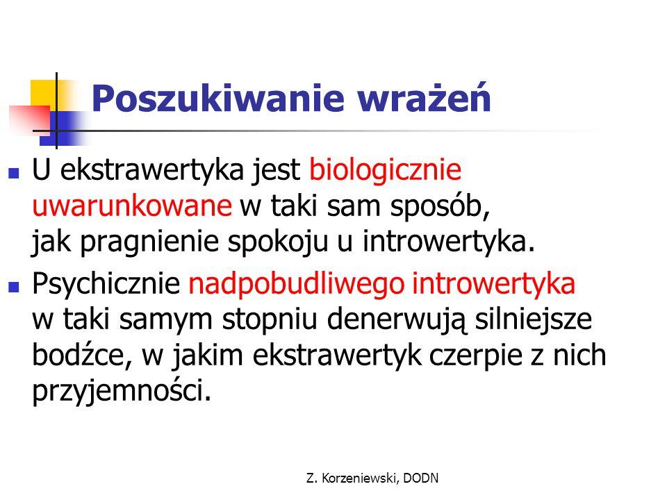 Z. Korzeniewski, DODN Poszukiwanie wrażeń U ekstrawertyka jest biologicznie uwarunkowane w taki sam sposób, jak pragnienie spokoju u introwertyka. Psy
