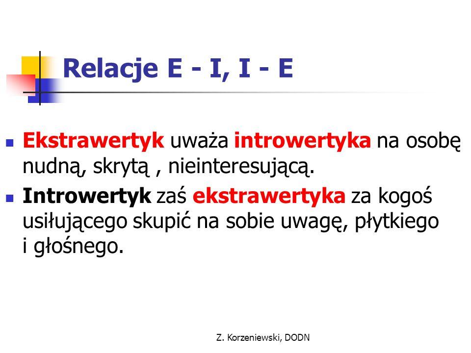 Z. Korzeniewski, DODN Relacje E - I, I - E Ekstrawertyk uważa introwertyka na osobę nudną, skrytą, nieinteresującą. Introwertyk zaś ekstrawertyka za k