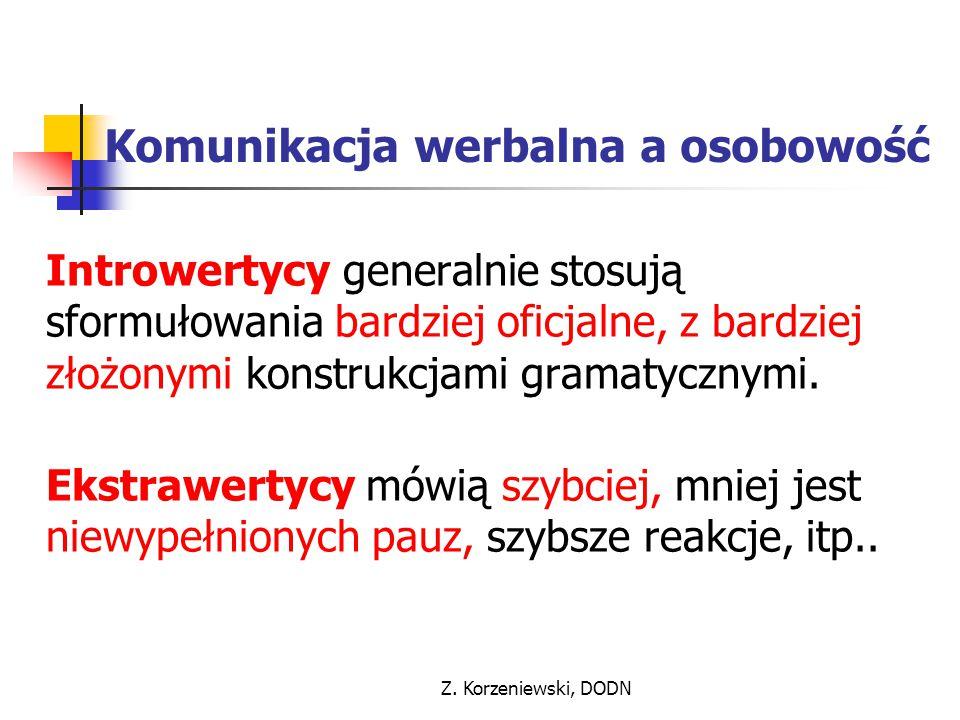 Z. Korzeniewski, DODN Komunikacja werbalna a osobowość Introwertycy generalnie stosują sformułowania bardziej oficjalne, z bardziej złożonymi konstruk