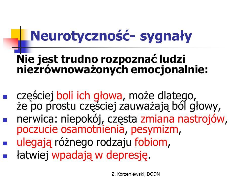 Z. Korzeniewski, DODN Neurotyczność- sygnały Nie jest trudno rozpoznać ludzi niezrównoważonych emocjonalnie: częściej boli ich głowa, może dlatego, że