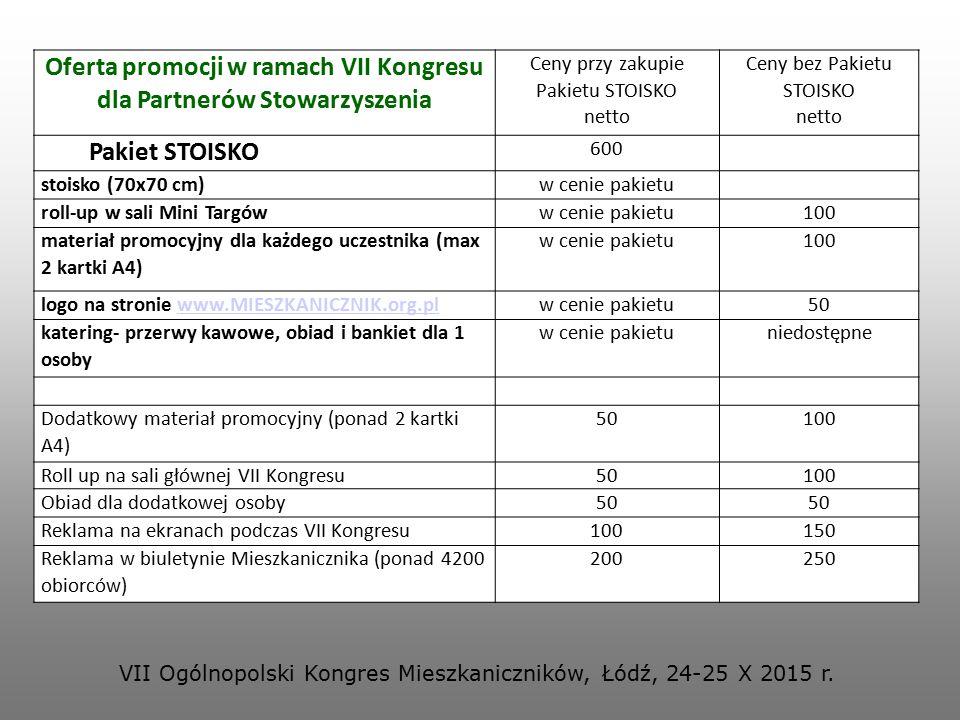 Oferta promocji w ramach VII Kongresu dla Partnerów Stowarzyszenia Ceny przy zakupie Pakietu STOISKO netto Ceny bez Pakietu STOISKO netto Pakiet STOIS