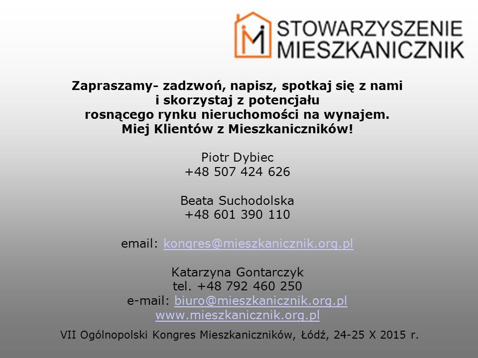 Zapraszamy- zadzwoń, napisz, spotkaj się z nami i skorzystaj z potencjału rosnącego rynku nieruchomości na wynajem. Miej Klientów z Mieszkaniczników!